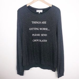 822f374e0a1e83 Wildfox · WILDFOX Send Chocolates Baggy Beach Jumper
